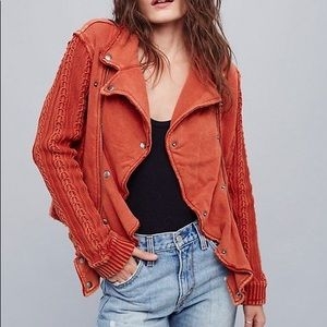 Free People ruffle moto sweater jacket